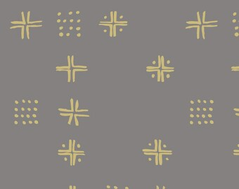Taupe Brown Geometric Fabric - Tapestry by Sharon Holland for Art Gallery Fabrics - Mudcloth Earth - Fabric By the Half Yard
