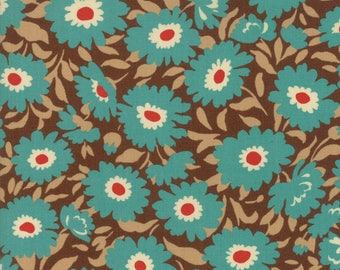 Momo - Lucky Day - Flowers - Cocoa (blue flowers on brown) - Moda Fabrics - Fabric by the Half Yard