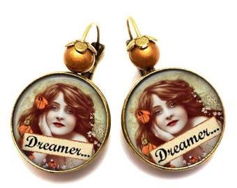 Boucles d oreilles vintage bronze avec cabochons verre