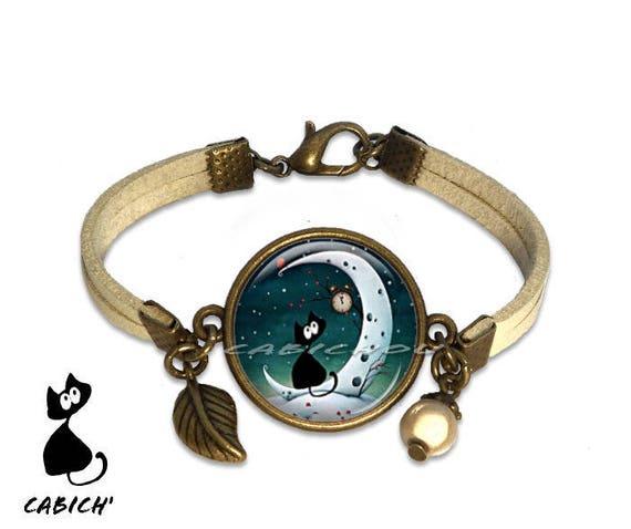 Bracelet cabochon chat au clair de la lune .  0b36f5c7384