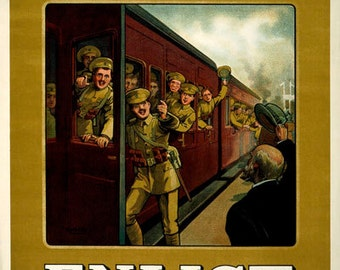 WA115 Vintage WW1 British Put Your Back In To It Enlist War Poster A1//A2//A3//A4
