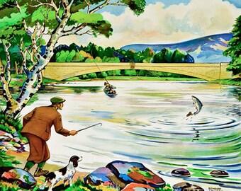 TU28 Vintage River Spey Scotland Railway Travel Poster Re-Print A4