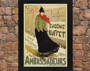 AP118 Vintage 1893 French Singer Eugénie Buffet Advertisement Poster Card A5