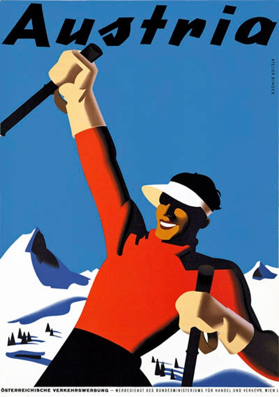 T49 Vintage Austria Skiing Winter Sports Travel Poster Re-Print A1//A2//A3//A4