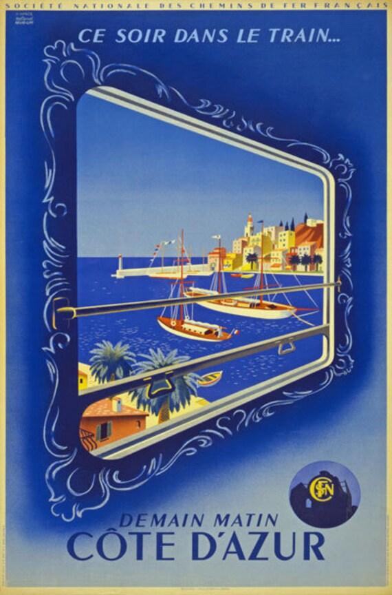 Vintage French Blue Train Paris To Cote D/'Azur Tourism Poster A4//A3//A2//A1 Print