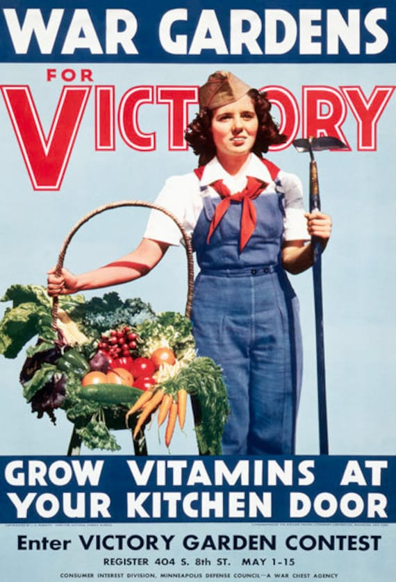 WB63 Vintage Dig For Victory Grow Your Own Veg WW2 World War II Poster A2//A3//A4