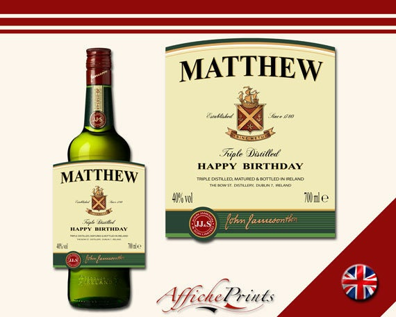 Affiche Prints L1 Personalised Irish Cream//Whisky Bottle Label For Any Occasion!