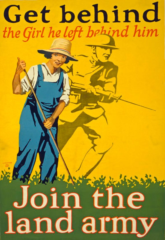 """Home Art Reproduction Vintage World War Poster Size A2 /""""Womens Land Army/"""""""
