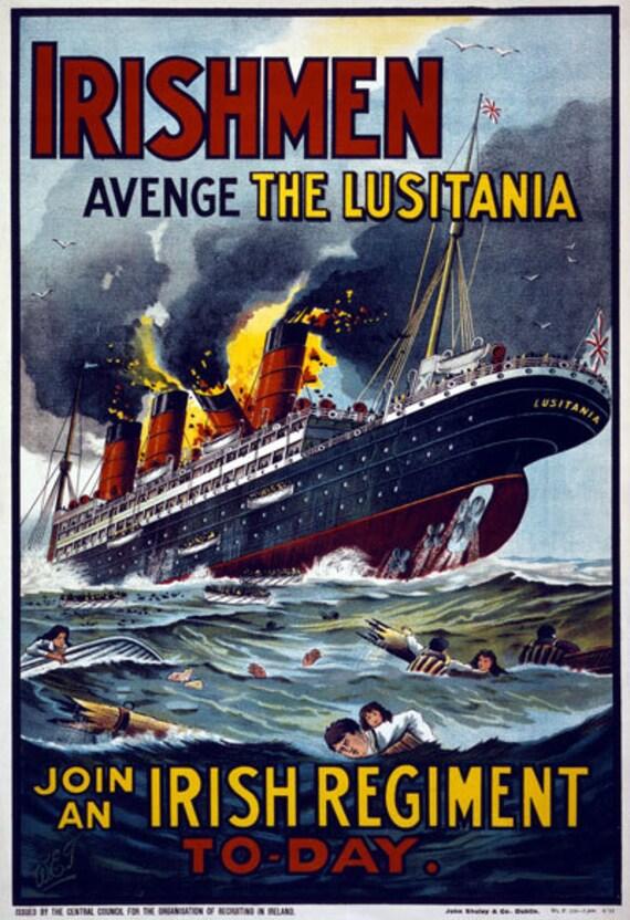Wa8 Vintage Primera Guerra Mundial que los hombres irlandeses vengar la Lusitania Guerra Alistar Cartel Ww1 A1 A2 A3