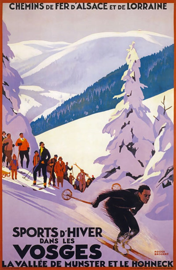 Vintage Italian Valle D/'Aosta Winter Sports Tourism Poster A4//A3//A2//A1 Print