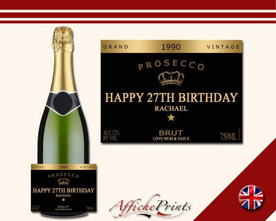 Christmas// XMAS GIFT// Any occasion Personalised Prosecco bottle label