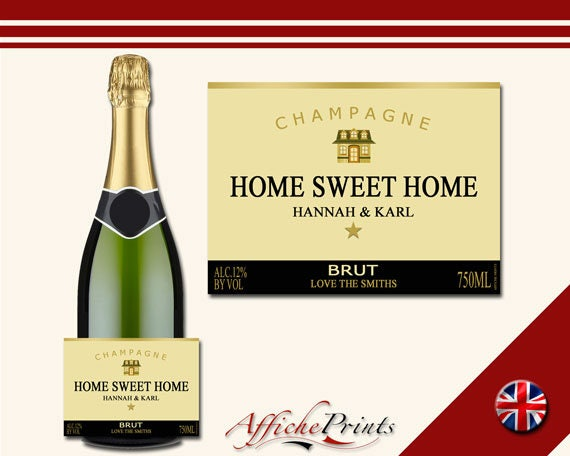 L47 Personalised Champagne Brut Bottle Gold New Home Moving Custom Label -  Perfect Gift!