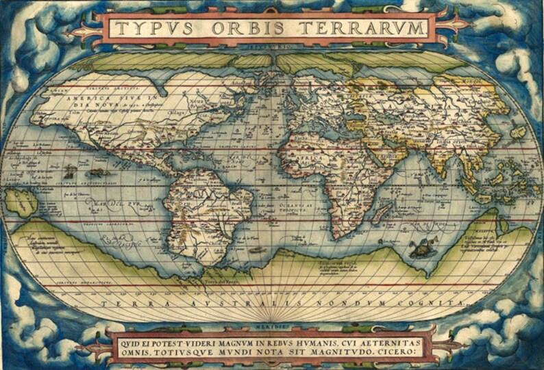 Vintage Map 3 The Moon Globe Atlas Art Print A4 A3 A2 A1