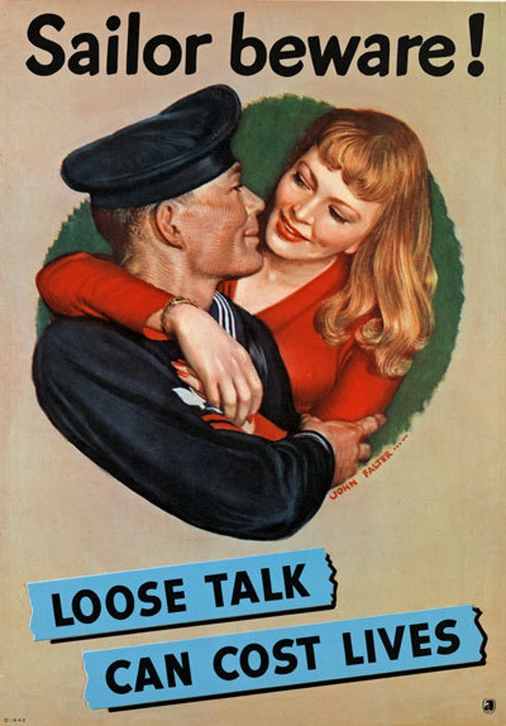 Prisoner Of War Poster WW2 A4 2W56 Vintage WWII Loose Talk Can Cause This