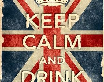 KCV11 Vintage Union Jack Keep Calm Drink Coffee Poster Re-Print Wall Decor A2/A3/A4