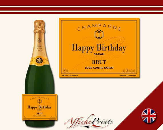 Perfect Gift Any Occasion! L14 Personalised Rose Champagne Brut Bottle Label