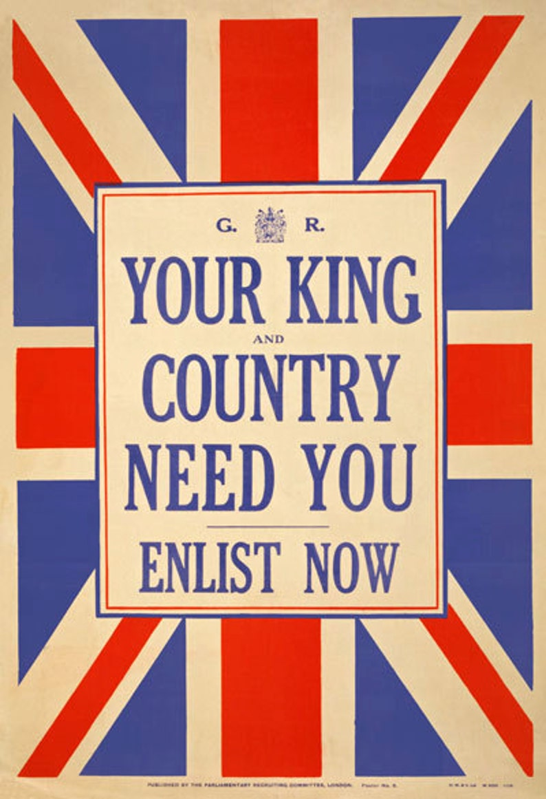 WA3 Vintage WWI British Royal Fusiliers Army War Recruitment Poster WW1 A1 A2 A3