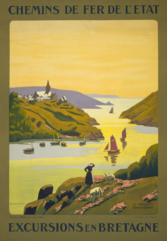 TX05 Vintage France Excursions Bretagne Brittany French Travel Poster A1//A2//A3