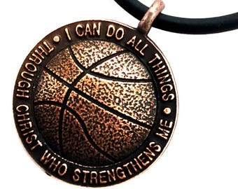 Copper basketball necklace