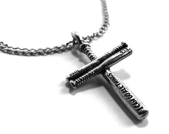 036cdabe25d5b4 Small Baseball Bat Cross Necklace Pewter on chain (CLBchain) Philippians  4:13 I can do all things