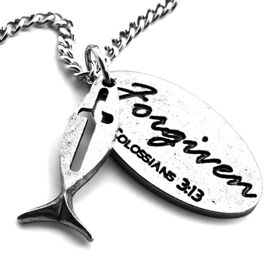 b36fchain Jesus Fish and Cross with Forgiven Tag On Curb Chain