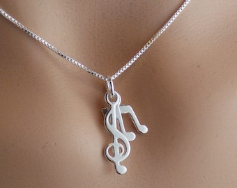 Music Gift, Music Note, Music Necklace, Music Notes Necklace, Music Charms, Music Teacher Gifts, Treble Clef, Music Jewelry, Stampsink
