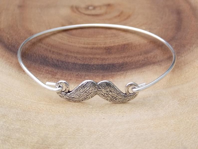 Moustache bracelet Mustache Bangle Mustache Jewelry Mustache Bracelet Silver Bangle