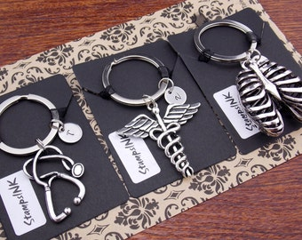 Nurse Gift, Nurse Keychain, Nurse Gifts, Respiratory Therapist Gifts, Gift For Doctor, Nursing Keychain, Lung Cancer, Caduceus Cool keychain