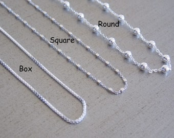 Silver Chain, Sterling Silver Chain, Box Chain, Ball Chain, Square Bead Chain, 925 Solid Silver Chain, Top Quality, 16-18-20-22-24-30-36