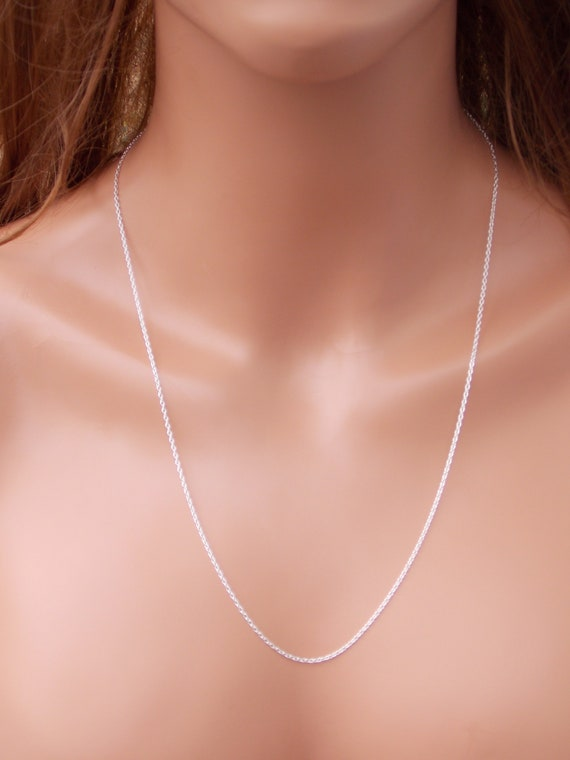 925 Solid Long Silver Necklace Finished Chain Sterling Silver Chain Chain Necklace Cable Chain Jewelry Chain Silver Box Chain