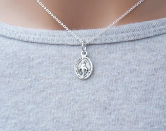 Tiny Miraculous Medal Necklace, Virgin Mary Necklace, Religious Jewelry, Silver Medallion Necklace, Sterling Silver Chain