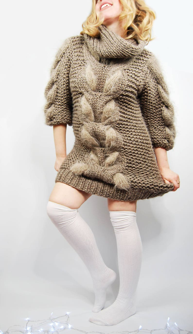 97b29be24ed OVERSIZED Chunky Sweater Turtleneck sweater Knit dress Cable