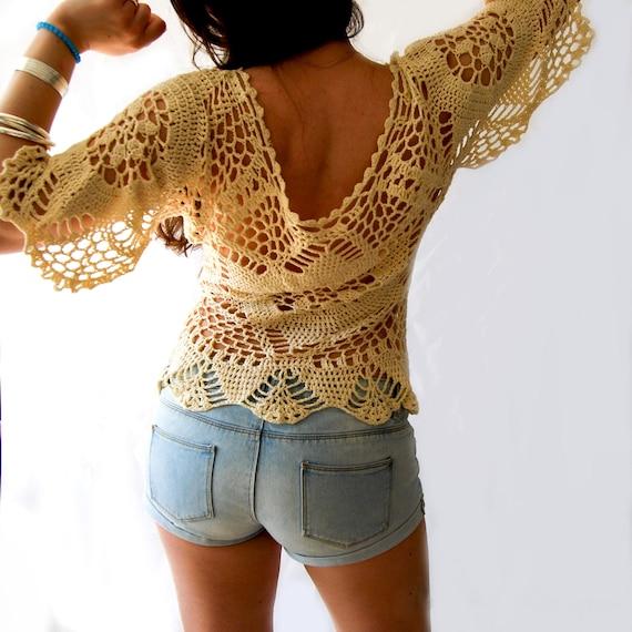 Women Gilrs 2pcs Lace Crochet Tassel Top
