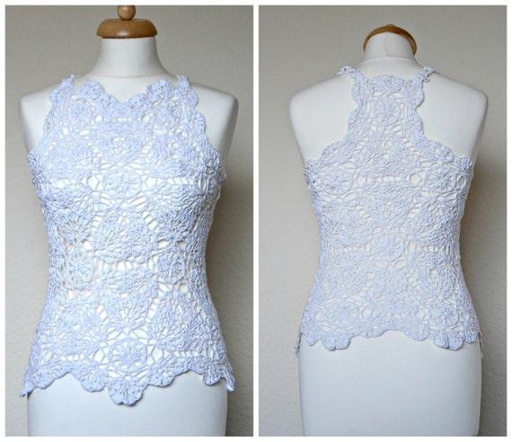 Crochet Bianco Matrimonio Top Pizzi Alluncinetto Top In Etsy