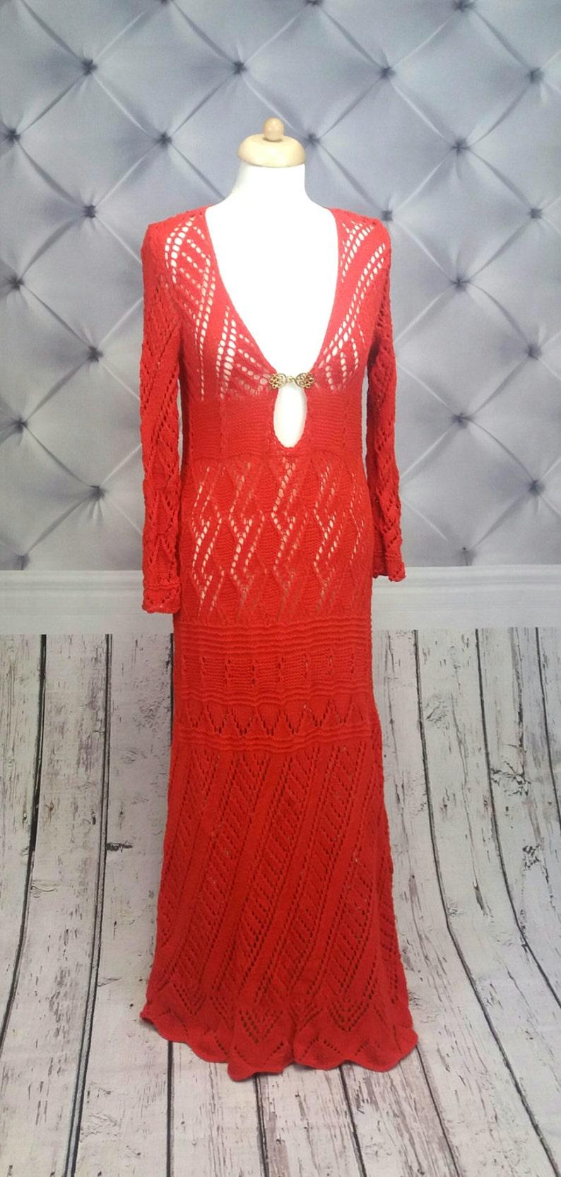 Festival Maxi Kleid in rot Langarm Brautkleid gestrickte ...