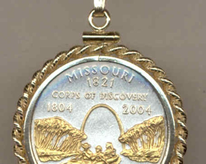 Gold on Silver coin Necklaces women men girls girlfriend boys teen girl Gorgeously 2-Toned Uniquely Hand done Missouri Statehood Quarter