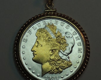 Uniquely Hand done with Gold Date Gold on Silver Charms Necklaces Old 1921 U.S Silver dollar Gorgeously 2-Toned coin Pendants