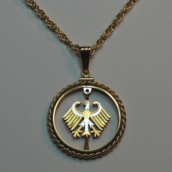 German 1 MarkEagle Two Tone Rope Bezel Coin on 18 Chain