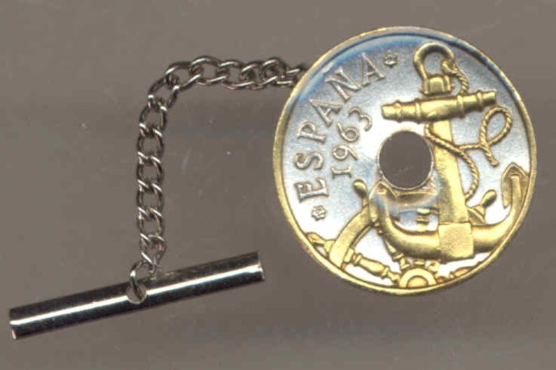 Uniquely Hand done tacky men him Boys women Tie or Hat tack pins Spanish Anchor /& Ships wheel,\u00a0Gorgeously 2-Toned Gold on Silver coin