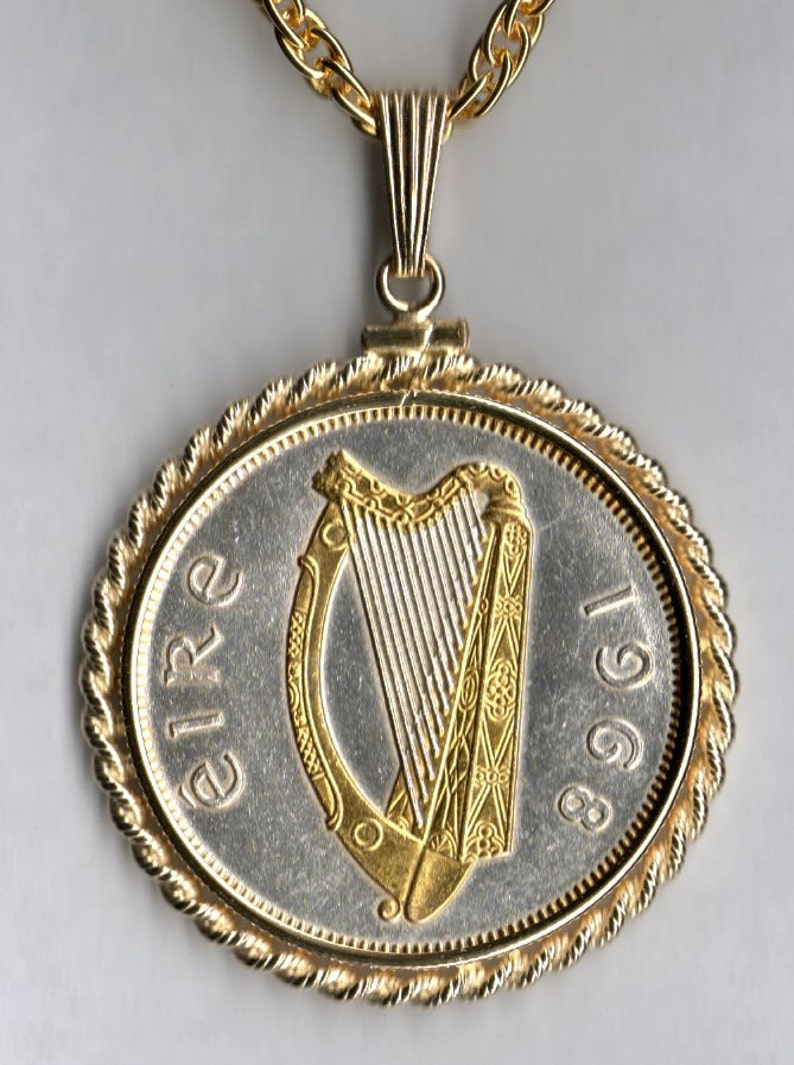 Irish half dollar size \u201cHarp\u201c,\u00a0Gorgeously 2-Toned Uniquely Hand done Gold and Silver  coin Necklaces for women men boys teen girls