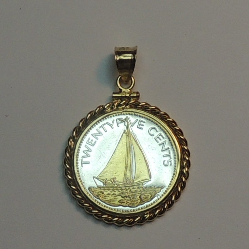 Uniquely Hand done Gold on Silver coin Pendants Charms Necklaces for women men  girls boys Bahamas \u201cSail boat\u201c,\u00a0Gorgeously 2-Toned