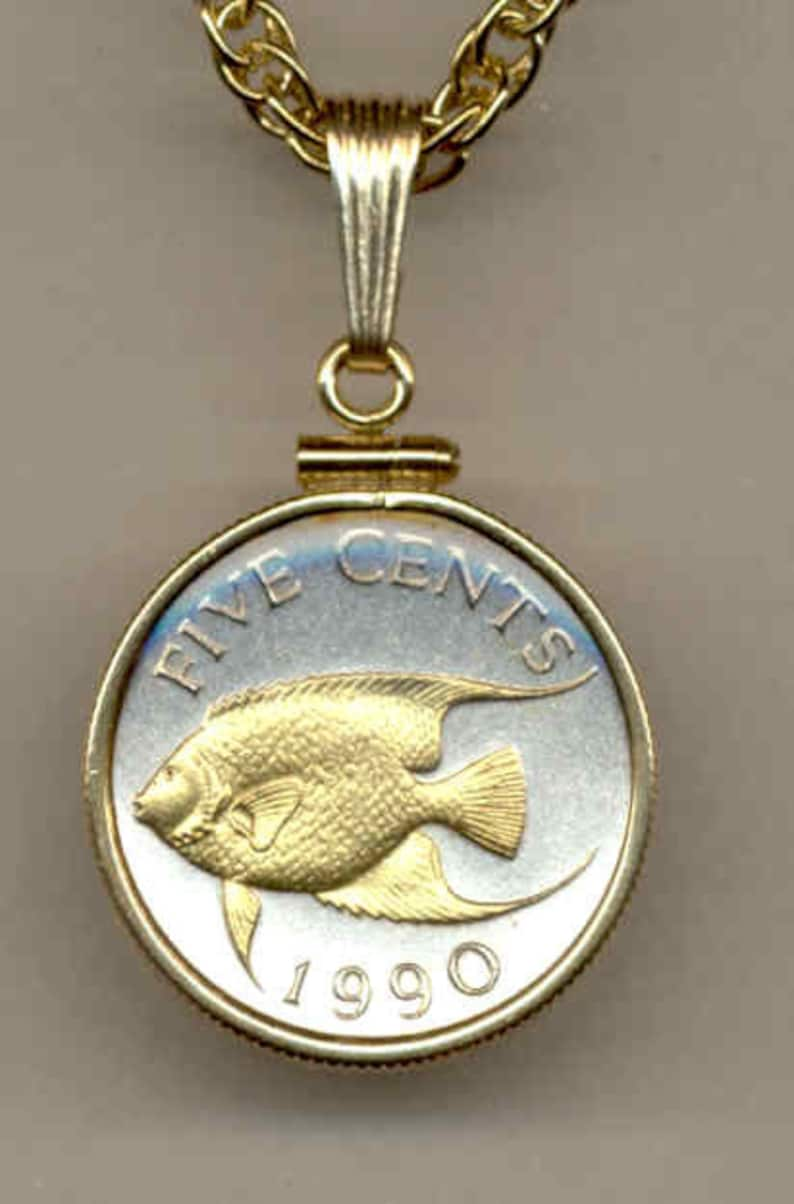 Bermuda \u201cAngelfish\u201c\u00a0Gorgeously 2-Toned Gold on Silver coin Necklaces for women men friend boys teen girls Pendants Uniquely Hand done