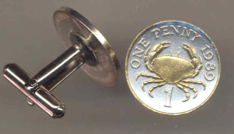 Guernsey\u00a0 Crab Uniquely Hand Done 2 Toned\u00a0 men\u2019s jewelry men\u2019s accessories for him groomsmen Gold on Silver coin cufflinks for men