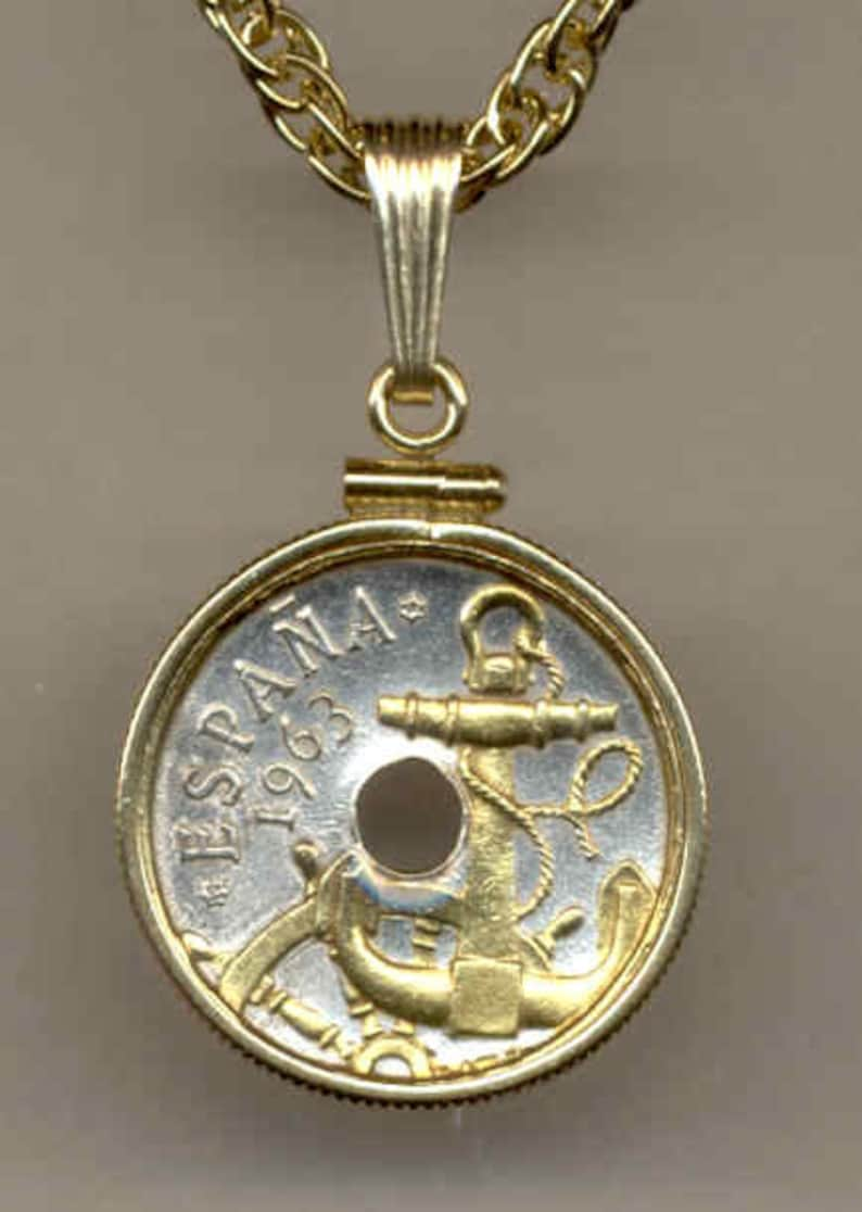 Gorgeously 2-Toned Gold on Silver coin Necklaces for women men boys teen girls Pendants Spanish \u201cAnchor /& Ships wheel\u201c Uniquely Hand done
