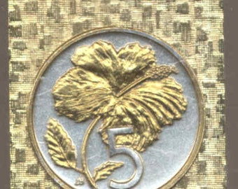 Money clip - Gorgeous 2-Toned Gold on Silver Cook Is. Hibiscus Coin - Money clips