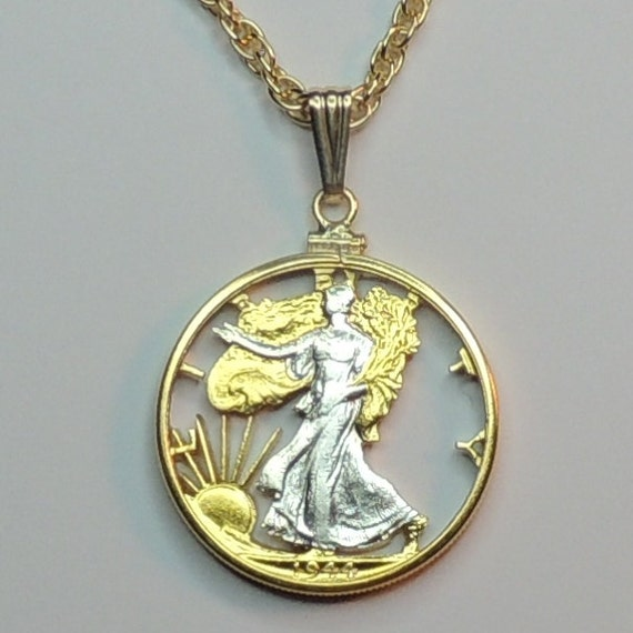 Walking Lady Liberty Half Dollar Coin Bezel Sterling Silver Coin Edge Pendant