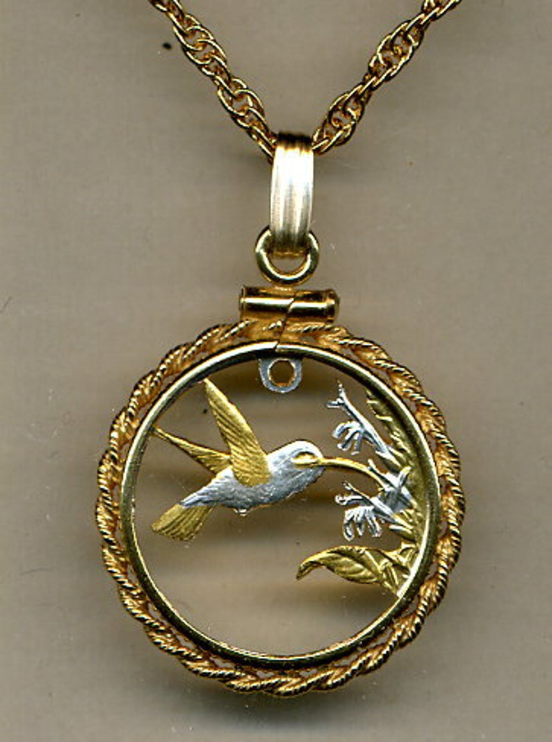Trinidad and Tobago \u201cHummingbird\u201c Beautifully Hand Cut out /& 2-toned Uniquely Hand done Gold on Silver coin Necklaces women girl friend boys