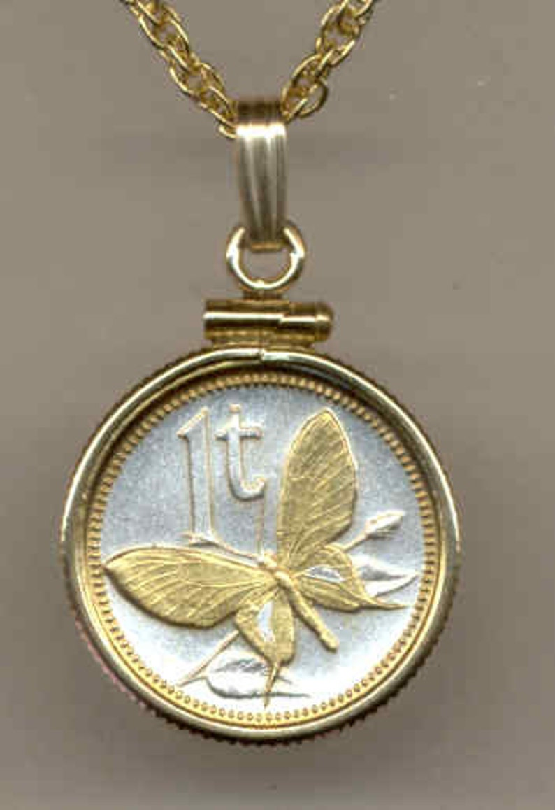 Gold on Silver coin Necklaces for women men  friend boys teen girls  Pendants Uniquely Hand done New Guinea\u00a0\u201cButterfly\u201c\u00a0Gorgeously 2-Toned