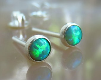 4.5mm Synthetic Blue Opals 14K Gold Plated Sterling Silver Post Stud Earrings