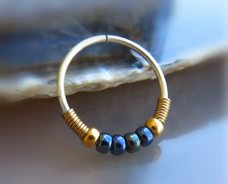 black nose ring  beaded nose jewelry  nose hoop 20g